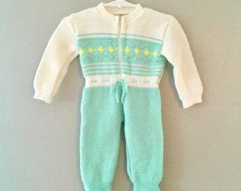 Vintage 1960's Baby Boy Mint Green One Piece Outfit / Warm Pajama Set Size 3-6 months