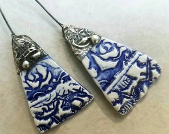 Tinwork-capped Porcelain Earring Charms Pair - #M40