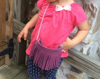 Toddler Leather Bag with bow or fringe, Leather Toddler Purse, small leather bag, toddler gift, child leather bag, leather child bag
