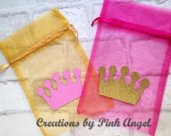 Set of 12 Gold and Pink Royal Princess Goodie Bags, Glitter Crown Treat Bags, Little Princess Party Favor Bags, Pink Princess Favor Bags
