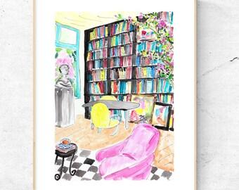 Books painting. Library art. Bookshelf painting. Wall decor sculptures. Bust sculpture. Office decor. Tea and books. Wall art. Pink chair