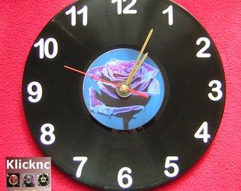 Purple Rose 30cm Vinyl Wall Clock