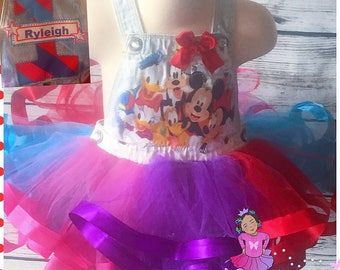 Mickey and friends overall ribbon trimmed tutu set