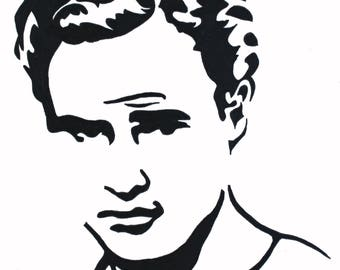 Marlon Brando hand-drawn drawing / painting