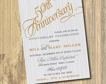 50th Wedding Anniversary Invitation printable/gold, gray, digital, party, dinner, surprise, black, 60th/Digital File/wording can be changed