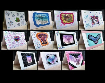 11 Notecards Greeting Handmade Art Cards with Original Artwork #QN29.46.47.41.42.49.48.67.68.69.70