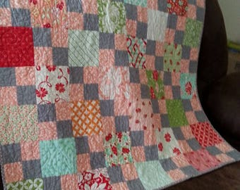 Pink Four Patch Baby Quilt