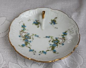Tidbit Tray Vintage 1950's Viletta's Arts Handpainted Blue Flower Decor Serving Decor Handled Tray - Kit0416