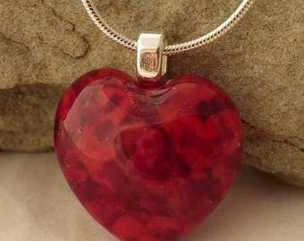 Ruby Red Little Fused Glass Heart Pendant