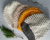 Puff Stitch Crocheted Hats, Slouchy Beanies, Wool-blend Hats