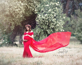 35 colors•Maternity fitted gown•maternity dress•train gown•attached chiffon•baby shower dress•photographer maternity prop•photo shoot dress