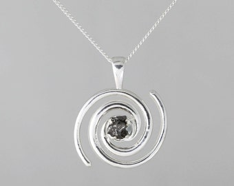 Galaxy Swirl & Meteorite Space Necklace - Sterling Silver