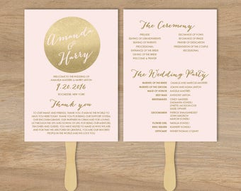 Blush and Gold Wedding Program DIY / Metallic Gold and Blush / Faux Gold Schedule ▷ Printable {or} Printed *** ASSEMBLY REQUIRED