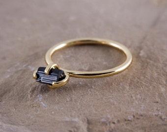 Raw Black tourmaline Ring