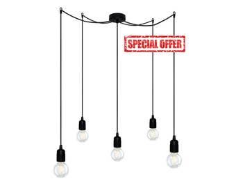 Bulb Attack UNO S5 pendant lamp with black, white, zinc, green, red, violet or orange E27 lampholders