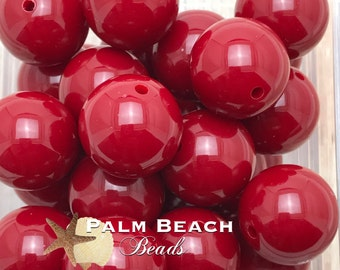 Ten (10) pc Chunky 20mm Bubblegum Acrylic Solid Beads CRANBERRY RED