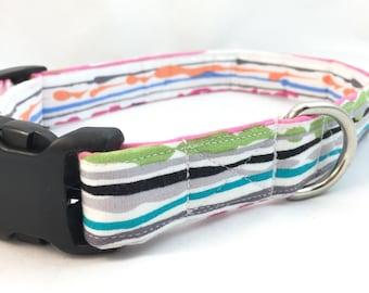 Watercolor Dog Collar - Rainbow dog collar - Rainbow striped dog collar - Dog Collar watercolor -Modern Dog Collar - Girl Dog Collar