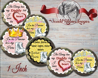 My Daddy is an Army Hero Bottle Cap Images 1 inch round circles for the perfect pendant, bow, charm,necklace and craft