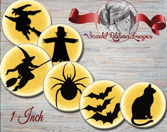 Halloween SilhouetteBottle Cap Images  Halloween cupcake toppers or party bag tags, pendant, craft circles