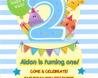 Printed Personalised 2nd Birthday Party Invitations x10