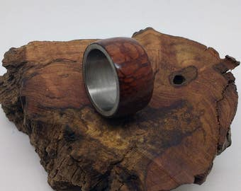 Wooden ring hand made from Western Australia Sheoak and stainless steel core