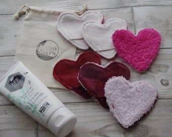 Valentines Day Love Heart Face scrubbies Reusable cotton rounds Washable organic bamboo cotton Facial Clensing Wipes luxury pamper set