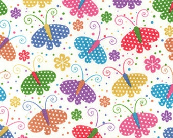 Butterfly Print Poly Cotton Fabric - by the Metre