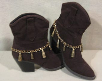 Fringed Boot Jewelry, Fringed Boot Chains, Fringed Boot Bling, Fringed Boot Straps, Fringed Boot Embellishments, Embellished Boots