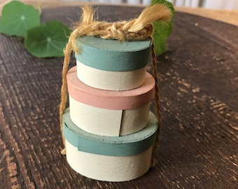 Vintage Painted Balsa Wood Miniature Stacked Hat Boxes