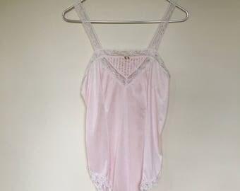 Vintage 1960s lingerie / jennifer dale / pink / lace / bodysuit / ruffles