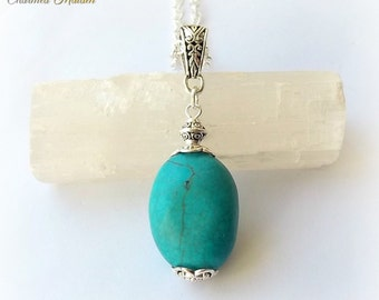 "Turquoise Pendant, Turquoise Necklace, Throat Chakra Necklace, Turquoise Magnesite Pendant Necklace, Tibetan Silver,Communication,24"" Chain"