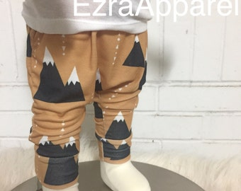 Mountain leggings, Adventure leggings, baby harem pants,baby leggings, baby clothes, tribal pants, hipster baby pants