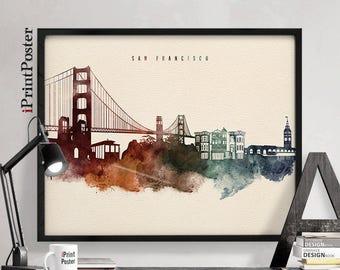 San Francisco poster, San Francisco print, San Francisco, Watercolour poster, Art print, California, Wall art, Home Decor, iPrintPoster