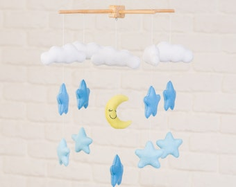 Stars, Moon and Clouds Mobile, Baby Mobile, Mobile, Nursery Mobile, Nursery Decor, Felt Mobile, Crib Mobile