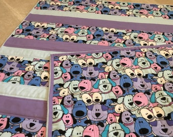Little Purple Puppies children's quilt 42x42
