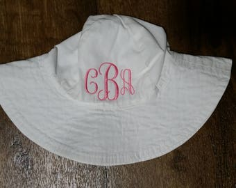 CLEARANCE    Toddler baby boy girl monogram personalized embroidered sun summer swim bucket hat
