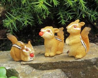 Chipmunks, 3 Piece Set for Miniature Garden, Fairy Garden