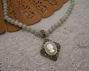 Aventurine and Cameo Necklace
