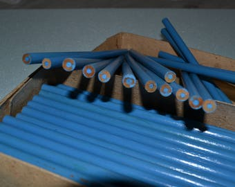 Vintage Unused Blue Wooden Pencils Made In The Soviet Union Large Number of Item (100)