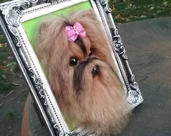 Needle felted custom dog sculpture of youre dog / needle felted Shih Tzu dog portrait / custom dog art / custom portrait of a dog