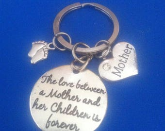 The love between a Mother and her children is forever, pendant on key ring or necklace.