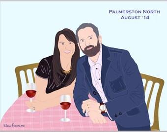 Custom Couple Portrait, Birthday Present, Engagement, Anniversary, or Wedding Gift - Illustration Print