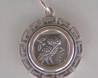 For Sale Owl Of Wisdom Coin Pendant with Meander Design High Quality Item - Athena