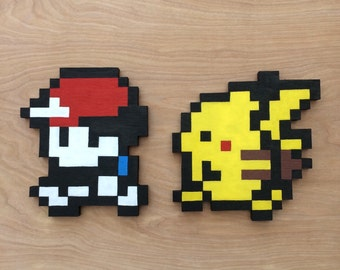Pokemon Wooden Wall Art - Pikachu & Ash - Pixel Art
