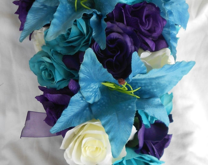Royal purple, ivory and  turquoise  cascade bouquet  Lilies and roses 23 pieces. One sweetheart table centerpiece