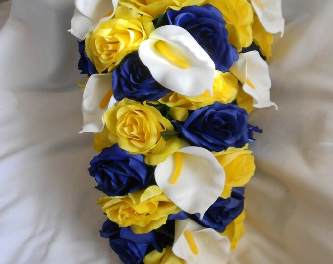 Yellow and Navy brides flowers cascade bouquet 2 pieces Free toss boutonnier and toss