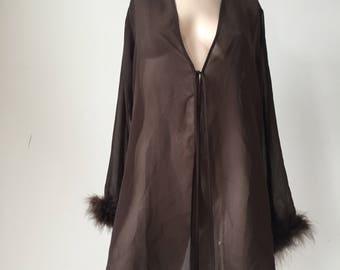 Fur trim sheer robe