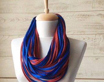 Blue Scarf Red Scarf Jersey Scarf Tshirt Scarf  Necklace Scarf Women Scarf Infinity Scarf Men Scarf Cotton Scarf Loop Scarf Summer Scarf