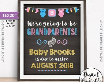 """Going to be Grandparents Pregnancy Announcement, Grandparents Sign, We're Expecting a Grandchild, 8x10/16x20"""" Chalkboard Style Printable"""