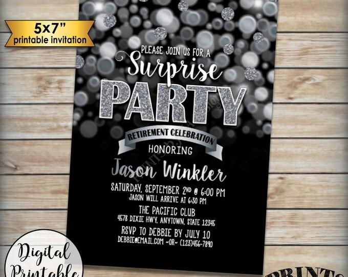 "Surprise Retirement Party Invitation, Black and Silver Glitter Surprise Party Retirement Celebration, Black & Silver PRINTABLE 5x7"" Invite"